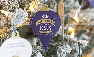 Birthday for Jesus Ornaments on Christmas Tree