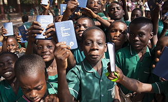 Kids in Ghana with New Testaments